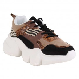 ZAPATILLA URBANA NEW WALK CEBRA COFFEE